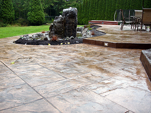 Large Ashler Stamped Concrete Patio